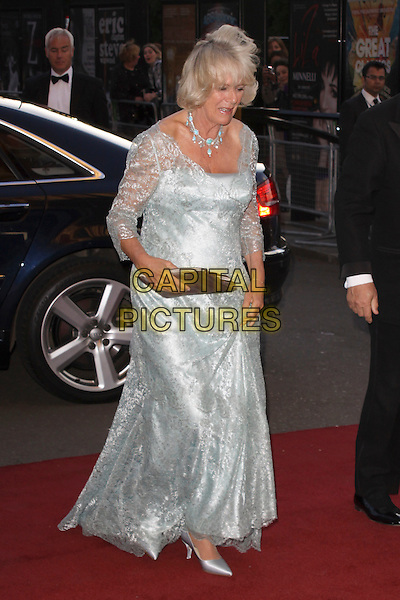 CAMILLA, DUCHESS OF CORNWALL.Arriving to the Classical Brit Awards 2011 at the Royal Albert Hall, London, England, UK, 12th May 2011..arrivals brits royal royalty parker bowles full length green blue silver lace long maxi silk satin shoes dress clutch bag duck egg  ring necklace .CAP/AH.©Adam Houghton/Capital Pictures.