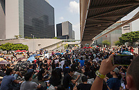 Crowds gather in front of Hong Kong Central Government Office on day three of the mass civil disobedience campaign Occupy Central, Hong Kong, China, 30 September 2014.