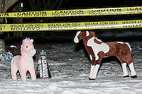 Stuffed ponies stand in the snow as satirical presidential candidate Vermin Supreme protests his exclusion from the Lesser-Known Candidates Debate outside Saint Anselm College's New Hampshire Institute of Politics in Goffstown, New Hampshire. Supreme participated in previous debates, but was told he would be not allowed back this year because of an incident during the 2011 debate in which Supreme threw glitter on candidate Randall Terry. The college put up police tape behind which the candidate was told to stand without risking arrest. Supreme's platform advocates a pony-based economy, using zombies to solve the energy crisis, and other outlandish ideas. Supreme has been on the New Hampshire primary ballot in 2008 and 2012, though he has began running for president in 1992.
