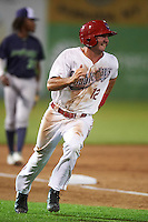 Auburn Doubledays second baseman Jake Noll (12) running the bases during a game against the Vermont Lake Monsters on July 12, 2016 at Falcon Park in Auburn, New York.  Auburn defeated Vermont 3-1.  (Mike Janes/Four Seam Images)
