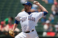 Round Rock Express pitcher Michael Kirkman #44 delivers during the Pacific Coast League baseball game against the Memphis Redbirds on May 6, 2012 at The Dell Diamond in Round Rock, Texas. The Express defeated the Redbirds 5-1. (Andrew Woolley/Four Seam Images).