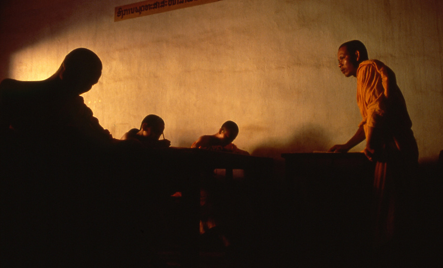Monks in class at Buddhist Temple in Vientiane, Laos
