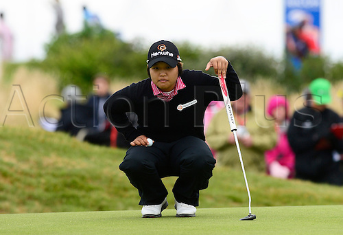31.07.2015. Turnberry, Scotland. Ricoh Womens British Open Golf Round 2. Haru Nomura on the 18th , on a cool day on the course.