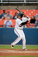 Frederick Keys shortstop Alejandro Juvier (6) at bat during the second game of a doubleheader against the Lynchburg Hillcats on June 12, 2018 at Nymeo Field at Harry Grove Stadium in Frederick, Maryland.  Frederick defeated Lynchburg 8-1.  (Mike Janes/Four Seam Images)
