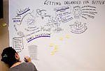 """BRUSSELS - BELGIUM - 23 November 2016 -- European Training Foundation (ETF) Conference on """"GETTING ORGANISED FOR BETTER QUALIFICATIONS"""". -- Illustrations by Carolina Chapple. -- PHOTO: Juha ROININEN / EUP-IMAGES"""