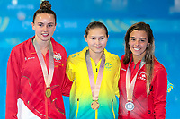 Picture by Alex Whitehead/SWpix.com - 12/04/2018 - Commonwealth Games - Diving - Optus Aquatics Centre, Gold Coast, Australia - Women's 10m Platform Final, Gold - Australia's Melissa Wu, Silver - Canada's Meaghan Benfeito, Bronze - England's Lois Toulson.
