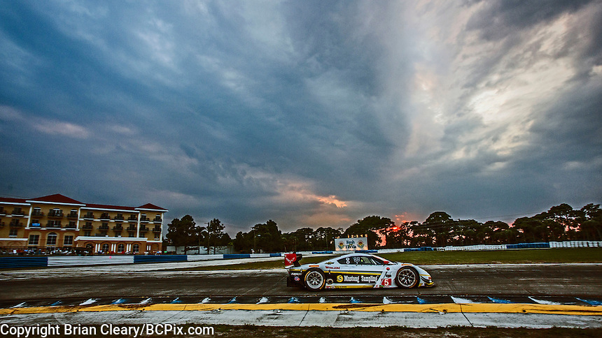 Sunset during practice, #5 Corvette DP, João Barbosa, Sébastien Bourdais, Christian Fittipaldi  12 Hours of Sebring, Sebring International Raceway, Sebring, FL, March 2015.  (Photo by Brian Cleary/ www.bcpix.com )