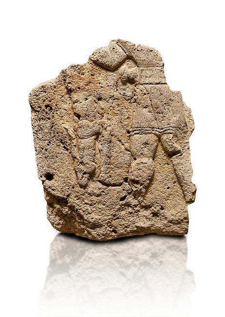 Hittite relief sculpted orthostat stone panel of Long Wall Limestone, Karkamıs, (Kargamıs), Carchemish (Karkemish), 900 - 700 B.C. Anatolian Civilizations Museum, Ankara, Turkey. The short-skirted figure with a dagger at the waist holds the gazelle from its hind legs.<br /> <br /> On a White Background.