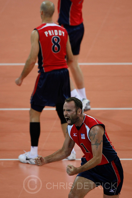 USA's Lloy Ball celebrates after winning a point during the game against Serbia in the quarterfinals match at the Capital Gymnasium in Beijing, Wednesday, August 20, 2008. USA won the match 3-2...Chris Detrick/The Salt Lake Tribune.