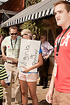 August 11, 2012. Ashland, VA.. Romney/ Ryan campaign volunteers gathered outside Homemades by Suzanne, a local restaurant where the candidates planned on stopping..  Republican presidential candidate Mitt Romney campaigned through Virginia and North Carolina over the weekend, showing off his new vice presidential pick Paul Ryan. The candidates stopped at several small businesses highlighting their promise to champion the needs of business owners across the country.
