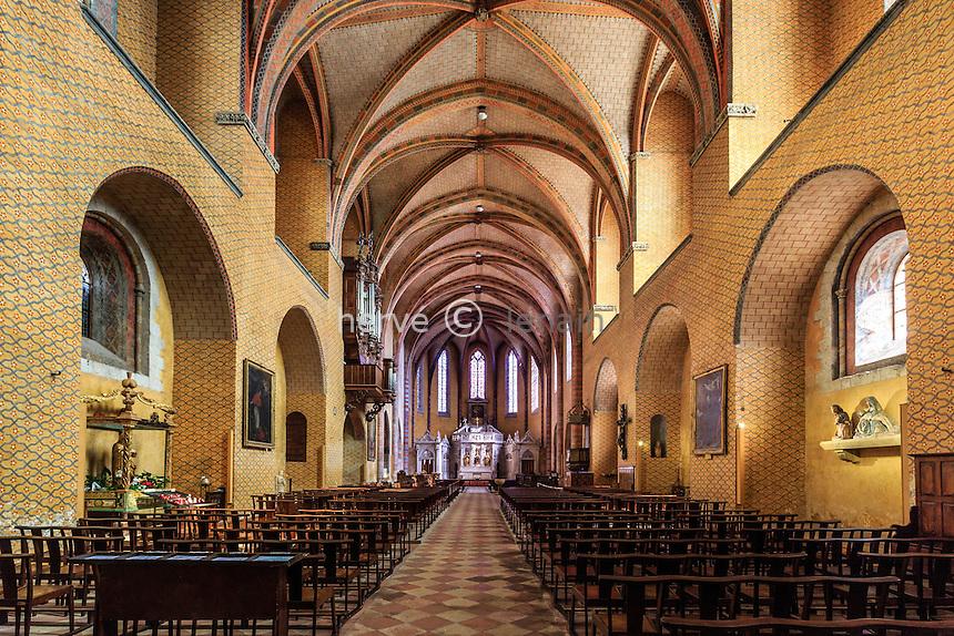 France, Tarn-et-Garonne (82), Moissac, abbaye Saint-Pierre, classé patrimoine mondial de l'UNESCO, nef de l'église // France, Tarn et Garonne, Moissac, Saint Pierre Abbey, listed as World Heritage by UNESCO, the nave of the church