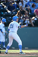 Ty Moore (29) of the UCLA Bruins bats during a game against the Hofstra Pride at Jackie Robinson Stadium on March 14, 2015 in Los Angeles, California. UCLA defeated Hofstra, 18-1. (Larry Goren/Four Seam Images)