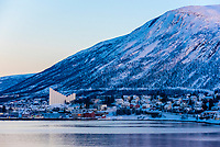 The 1965 Arctic Cathedral, with its distinctive peaked roof and soaring stained-glass windows, dominates the skyline of Tromso, Arctic, Northern Norway.