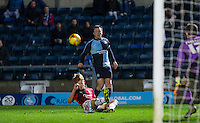 Garry Thompson of Wycombe Wanderers crosses the ball in for an assist on his teams 2nd goal during the Sky Bet League 2 match between Wycombe Wanderers and Crawley Town at Adams Park, High Wycombe, England on 28 December 2015. Photo by Andy Rowland / PRiME Media Images