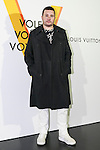 British fashion designer Kim Jones poses for the cameras during the opening celebration for Louis Vuitton's ''Volez, Voguez, Voyagez'' exhibition on April 21, 2016, Tokyo, Japan. After a successful run in Paris, the luxury fashion brand now brings the instalment to Tokyo, which traces Louis Vuitton's history from 1854 to today. Some 1,000 objects, including rare trunks, photographs and handwritten client cards will be displayed. Japanese room will be set up specially for Japan, showcasing such rare items as makeup and tea ceremony trunks for kabuki actor Ebizo XI. The exhibition will be open to the public free of charge from April 23 to June 19. (Photo by Rodrigo Reyes Marin/AFLO)