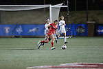 SALEM, VA - DECEMBER 3:Lexie Sprague (4) battles for the ball during theDivision III Women's Soccer Championship held at Kerr Stadium on December 3, 2016 in Salem, Virginia. Washington St Louis defeated Messiah 5-4 in PKs for the national title. (Photo by Kelsey Grant/NCAA Photos)