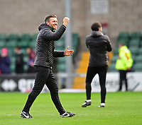 Lincoln City's assistant manager Nicky Cowley celebrates at the end of the game<br /> <br /> Photographer Chris Vaughan/CameraSport<br /> <br /> The EFL Sky Bet League Two - Lincoln City v Crewe Alexandra - Saturday 6th October 2018 - Sincil Bank - Lincoln<br /> <br /> World Copyright &copy; 2018 CameraSport. All rights reserved. 43 Linden Ave. Countesthorpe. Leicester. England. LE8 5PG - Tel: +44 (0) 116 277 4147 - admin@camerasport.com - www.camerasport.com
