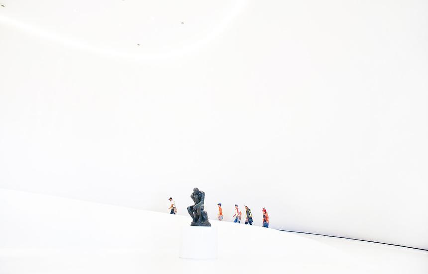 Construction of the Museo Soumaya Architect Fernando Romero. Mexico City.