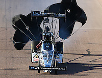 Feb 27, 2016; Chandler, AZ, USA; NHRA top fuel driver Dave Connolly during qualifying for the Carquest Nationals at Wild Horse Pass Motorsports Park. Mandatory Credit: Mark J. Rebilas-