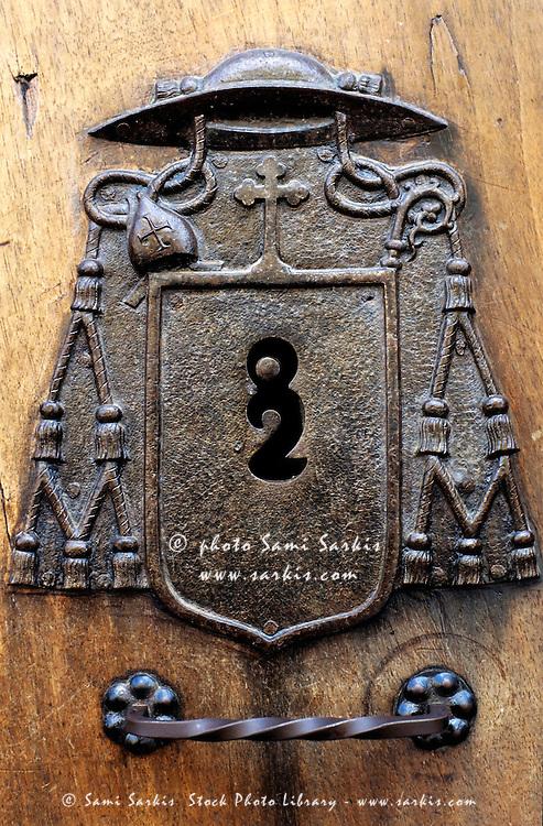 Keyhole on a wooden door, León, Spain.