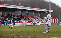 Kazaiah Sterling of Spurs U19 scores his penalty during the UEFA Youth League round of 16 match between Tottenham Hotspur U19 and Monaco at Lamex Stadium, Stevenage, England on 21 February 2018. Photo by Andy Rowland.