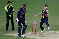 Adam Milne in bowling action for Kent during Kent Spitfires vs Essex Eagles, Vitality Blast T20 Cricket at the St Lawrence Ground on 2nd August 2018