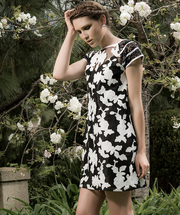 Fashion with Mirella, Florals at The Adelaide-Himeji Garden, South Tce, Model, Simone Chatterton from Finesse. Photo: Nick Clayton