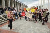 """Etwa zwei dutzend Menschen protestierten am Samstag den 8. Juni 2013 in Berlin gegen die """"1. Nackfussball EM der Frauen"""". Die US-Firma """"New Sport Events"""" hatte fuer diese Veranstaltung internationale Pornodarstellerinnen engagiert.<br />Im Bild: Eine Mitwirkende diskutiert mit den Protestierenden. Als Provokation hat sie ihre Brueste entbloesst.<br />8v.6.2013, Berlin<br />Copyright: Christian-Ditsch.de<br />[Inhaltsveraendernde Manipulation des Fotos nur nach ausdruecklicher Genehmigung des Fotografen. Vereinbarungen ueber Abtretung von Persoenlichkeitsrechten/Model Release der abgebildeten Person/Personen liegen nicht vor. NO MODEL RELEASE! Don't publish without copyright Christian-Ditsch.de, Veroeffentlichung nur mit Fotografennennung, sowie gegen Honorar, MwSt. und Beleg. Konto:, I N G - D i B a, IBAN DE58500105175400192269, BIC INGDDEFFXXX, Kontakt: post@christian-ditsch.de<br />Urhebervermerk wird gemaess Paragraph 13 UHG verlangt.]"""