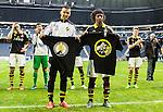 ***BETALBILD***  <br /> Solna 2015-05-31 Fotboll Allsvenskan AIK - Helsingborgs IF :  <br /> AIK:s Nabil Bahoui och Mohamed Bangura med t-shirts framf&ouml;r AIK:s supportrar efter matchen mellan AIK och Helsingborgs IF <br /> (Foto: Kenta J&ouml;nsson) Nyckelord:  AIK Gnaget Friends Arena Allsvenskan Helsingborg HIF jubel gl&auml;dje lycka glad happy glad gl&auml;dje lycka leende ler le supporter fans publik supporters