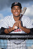 Dante Flores (1) of the Kannapolis Intimidators poses for a photo prior to the game against the Hagerstown Suns at Kannapolis Intimidators Stadium on May 6, 2016 in Kannapolis, North Carolina.  The Intimidators defeated the Suns 5-3.  (Brian Westerholt/Four Seam Images)