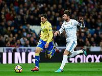 Real Madrid's Sergio Ramos  and UD Las Palmas' Ximo Navarro during La Liga match. November 5,2017. (ALTERPHOTOS/Inma Garcia)