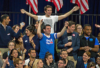 Hillary Clinton supporters celebrate as the State of Virginia is called for their candidate during Clinton's Election Night Event at the Jacob K. Javits Convention Center in New York, New York on Tuesday, November 8, 2016.<br />