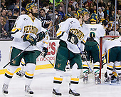 Viktor Stålberg (Vermont - 18), Josh Burrows (Vermont - 22) - The Boston College Eagles defeated the University of Vermont Catamounts 4-0 in the Hockey East championship game on Saturday, March 22, 2008, at TD BankNorth Garden in Boston, Massachusetts.