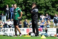 HAREN - Voetbal, Eerste Training FC Groningen  sportpark de Koepel, 01-07-2017,  FC Groningen speler Jesper Drost en FC Groningen trainer Ernest Faber