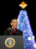 United States President Barack Obama makes remarks as he and the First Family attend the National Christmas Tree Lighting on the Ellipse in Washington, DC on Thursday, December 1, 2016.<br /> Credit: Ron Sachs / Pool via CNP