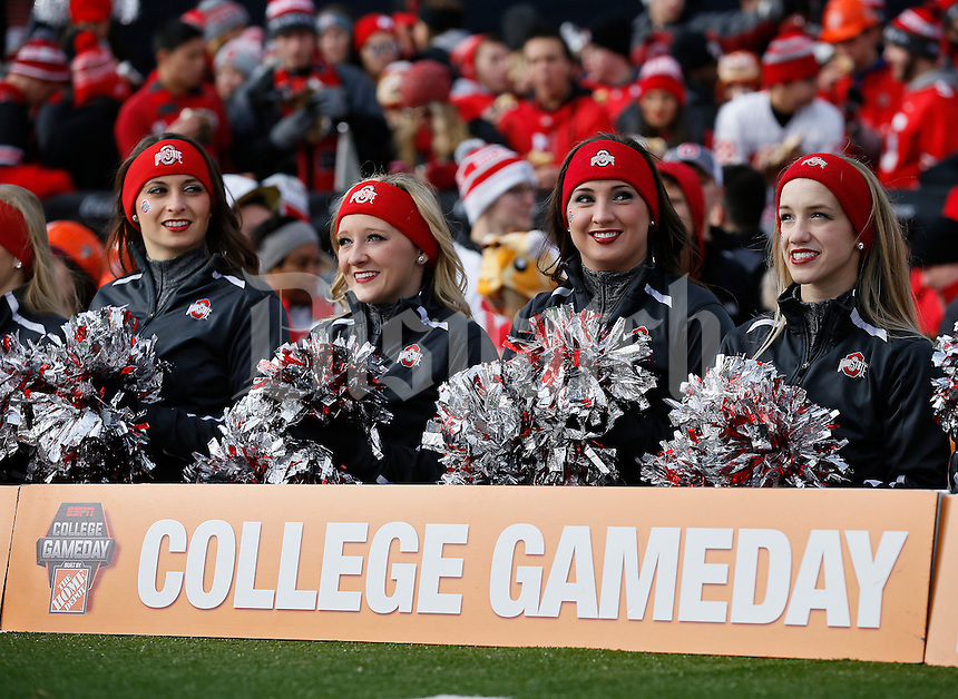 Ohio State cheerleaders watch the taping of ESPN's College GameDay broadcast from the campus of Ohio State prior to the NCAA football game against the Michigan State Spartans in Columbus on Nov. 21, 2015. (Adam Cairns / The Columbus Dispatch)