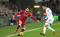 Mohamed Salah of Liverpool & Martin Olsson of Swansea City during the Premier League match between Swansea City and Liverpool at the Liberty Stadium, Swansea, Wales on 22 January 2018. Photo by Mark Hawkins / PRiME Media Images.