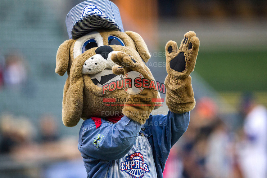 "Round Rock Express mascot ""Spike"" on May 27, 2014 at the Dell Diamond in Round Rock, Texas. (Andrew Woolley/Four Seam Images)"