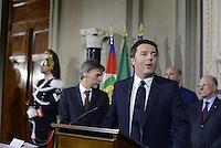Roma, 21 Febbraio 2014<br /> Quirinale<br /> Matteo Renzi nuovo Premier presenta alla stampa la lista dei Ministri<br /> Nella foto Renzi e Delrio nominato sottosegretario alla Presidenza