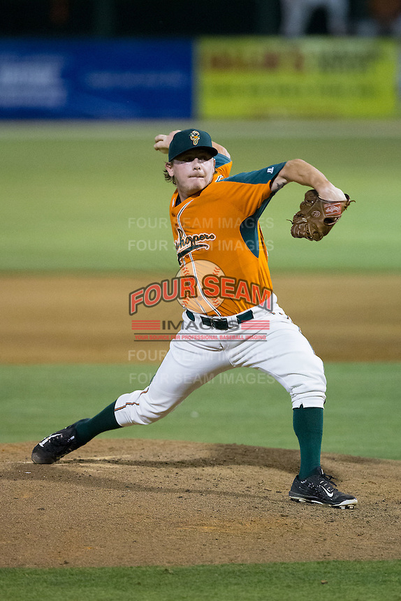 Greensboro Grasshoppers relief pitcher CJ Robinson (25) in action against the Kannapolis Intimidators at CMC-Northeast Stadium on June 11, 2015 in Kannapolis, North Carolina.  The Intimidators defeated the Grasshoppers 7-6.  (Brian Westerholt/Four Seam Images)