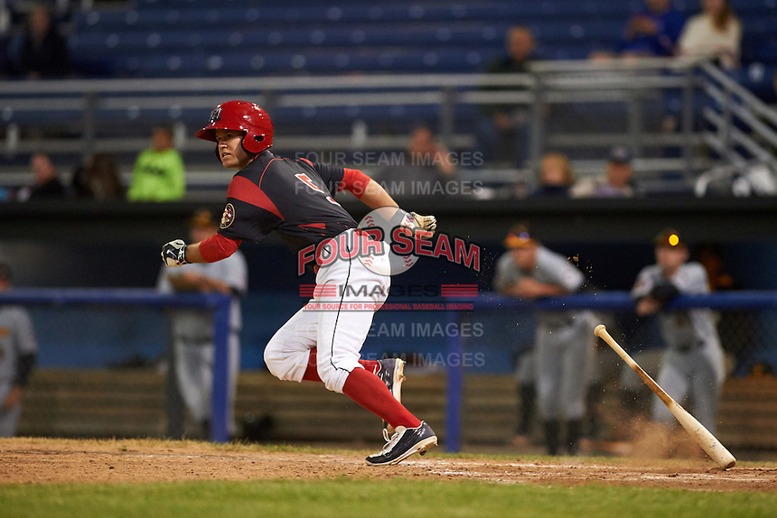 Batavia Muckdogs Aaron Knapp (5) runs to first base during a game against the West Virginia Black Bears on June 28, 2016 at Dwyer Stadium in Batavia, New York.  Batavia defeated West Virginia 3-1.  (Mike Janes/Four Seam Images)