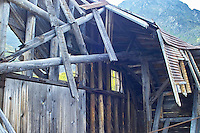 The roof of a building is slowly collapsing at Independence Mine State Historical Park, in the Hatcher Pass area about 50 miles north of Anchorage, Alaska.
