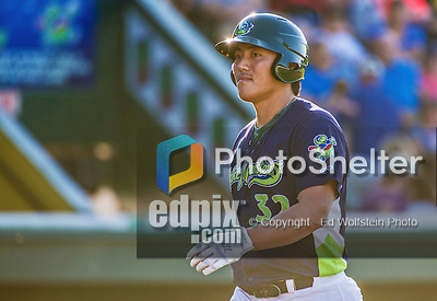 1 September 2014: Vermont Lake Monsters catcher Seong-min Kim in action against the Tri-City ValleyCats at Centennial Field in Burlington, Vermont. The ValleyCats defeated the Lake Monsters 3-2 in NY Penn League play. Mandatory Credit: Ed Wolfstein Photo *** RAW Image File Available ****