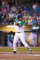 Hendrik Clementina (24) of the Dayton Dragons at bat against the Bowling Green Hot Rods at Fifth Third Field on June 8, 2018 in Dayton, Ohio. The Hot Rods defeated the Dragons 11-4.  (Brian Westerholt/Four Seam Images)