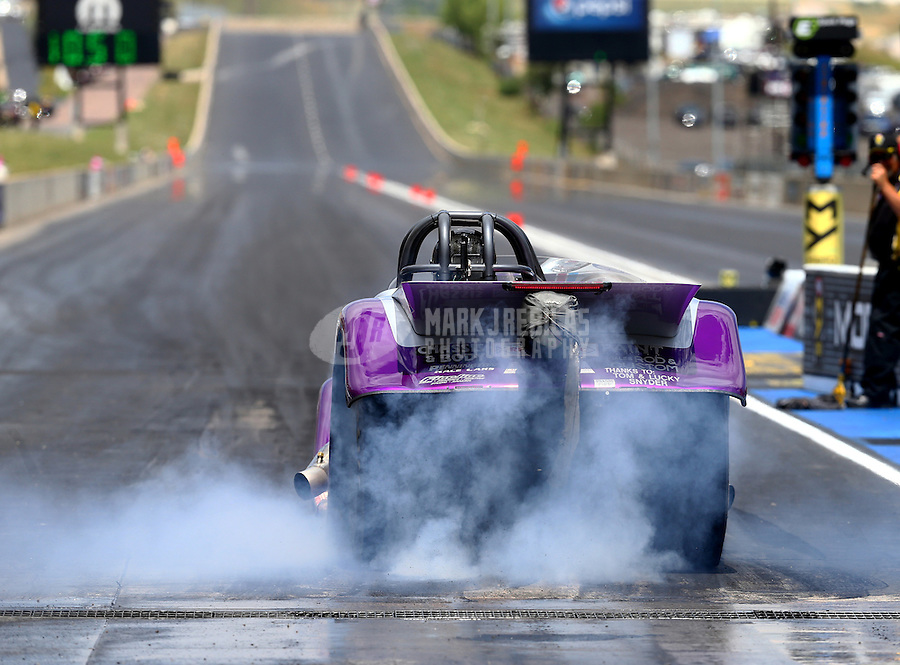Jul 24, 2016; Morrison, CO, USA; NHRA super comp/gas driver XXXX during the Mile High Nationals at Bandimere Speedway. Mandatory Credit: Mark J. Rebilas-USA TODAY Sports