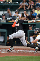Jupiter Hammerheads third baseman Brian Anderson (9) at bat during a game against the Bradenton Marauders on April 18, 2015 at McKechnie Field in Bradenton, Florida.  Bradenton defeated Jupiter 4-1.  (Mike Janes/Four Seam Images)