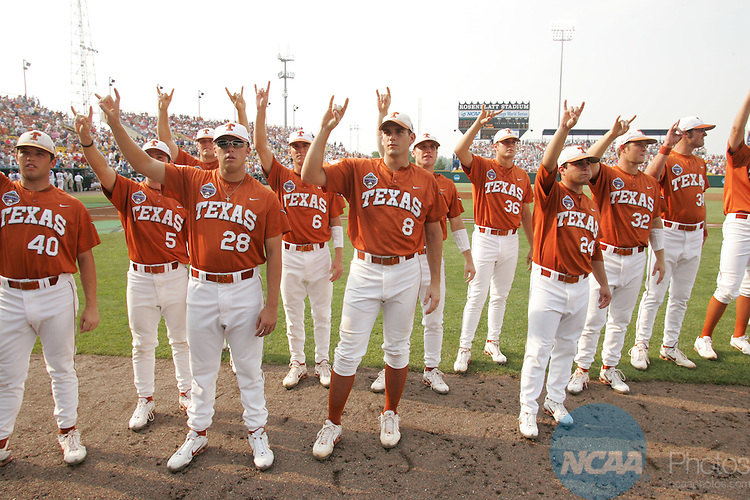 25 JUNE 2005:  The University of Texas and the University of Florida play in Game One of the College World Series in Omaha, NE.  Jamie Schwaberow/NCAA Photos.