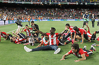 Athletic de Bilbao's players celebrate the victory in the Supercup of Spain. August 17,2015. (ALTERPHOTOS/Acero)