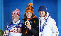 Sochi, Olympic Games10-02-2014, Medal Plaza, 3000m, Olga Graf (Zilver), Irene Wust, (Gold), Martina Sábliková (CZE) (Brons)