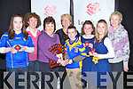 OVERALL: Ballymacelligott Ballad Group who were overall winners of Scór Na bPaistí, 2013 Babhta Ceannais Chiarraí, in Tinteán Theatre, Ballybunnion been presented with the winning trophy from Teresa Cotter, L-r: Claire Kenny, Teresa Cotter, Tiarnan Brosnan, Therese Kane, Heather Jones. Back l-r: Ann Kenny, Sinéad Cotter and Teresa Houlihan.